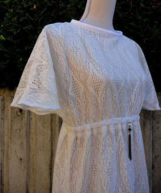 Custom Made White Lace Retro Style Dress With Beads