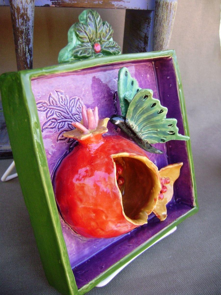 Handmade Pomegranate Butterfly Ceramic Shadow Box Wall