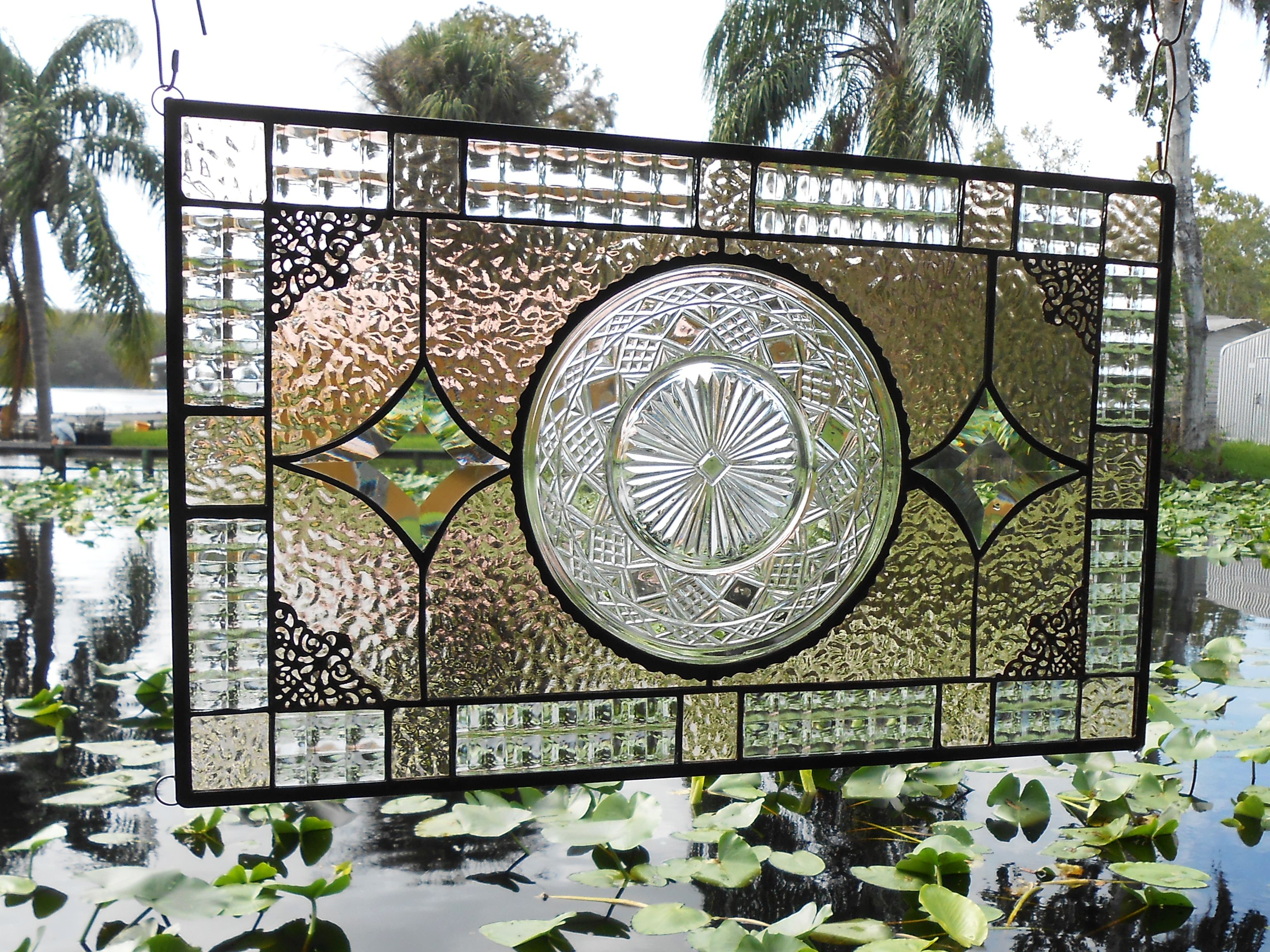 Custom Made Recycled Depression Gl Imperial Stained Window Panel Antique Transom