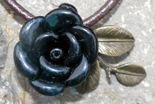 Custom Made Custom Hand-Blown Glass Rose Pendant