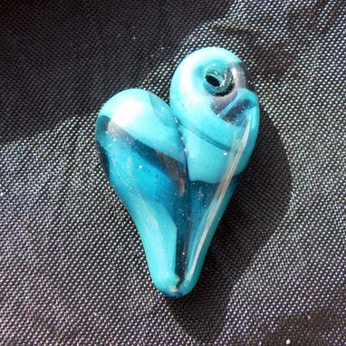 Custom Made Sparkling Blue Lampwork Glass Heart Pendant