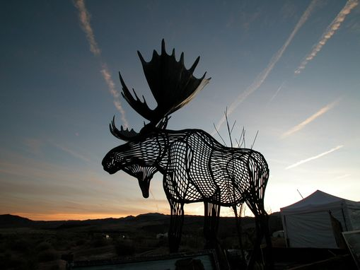 Custom Made Large Moose In Contour Lines, Fabricated Metal Sculpture