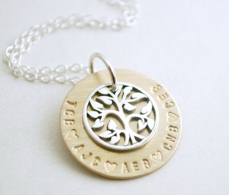 Custom Made Personalized Family Tree Necklace Initials Life Charm Gold Filled And Sterling Silver