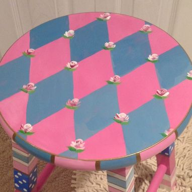 Custom Made Hand Painted Harlequin Wood Stool Whimsical Pink Roses Custom