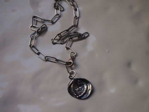 Custom Made Fine Silver Bird In Heart Pendant On Oxidized Sterling Large Link Chain
