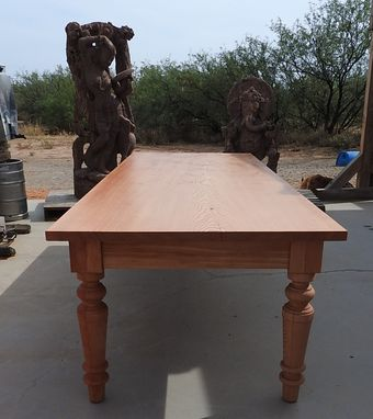 Custom Made Large Dining Table Out Of One Douglas Fir Slab. Custom Turned Leg.