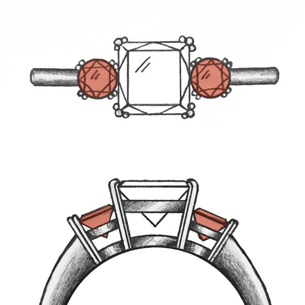 Our artist's design sketches for a three-stone ring with triple-prongs holding the center diamond, and double-prongs for the side garnets.