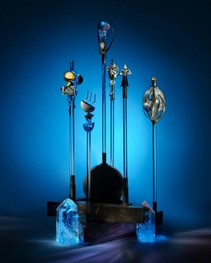 Custom Made Collection Of Seven Magic Wands And Stand