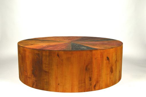 "Custom Made Circular 50"" Weathered Coffee Table"
