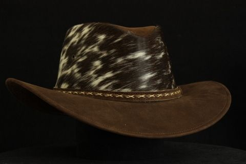 Custom Made Western Style Leather Hat- Indiana Becerro Nubuk