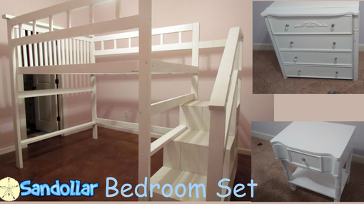 Custom Made Handmade White Sandollar Loft Bed Bedroom Set