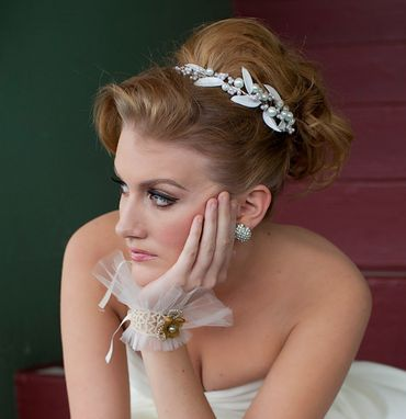 Custom Made Tiara Of Pearls And Vintage Glass Leaves, Bridal Headpiece