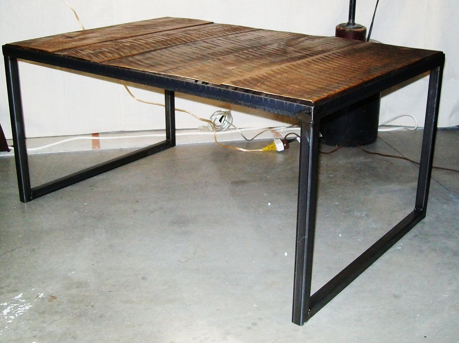 Handmade Industrial Wood & Steel Coffee Table By Lucah