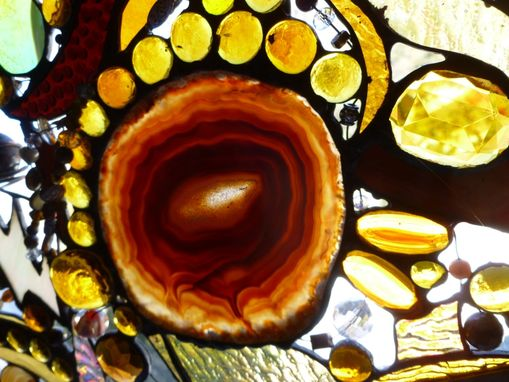 "Custom Made Amber-Themed Stained Glass Mixed Media Panel ""Dreaming Of Amber Number 3''"