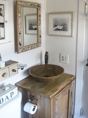 Custom Made Mirror Medicine Chest Made With Reclaimed Lumber And Shell Inset