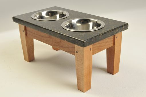 Custom Made Small Cherry And Uba Tuba Granite Elevated Dog Feeder (Now On Closeout)