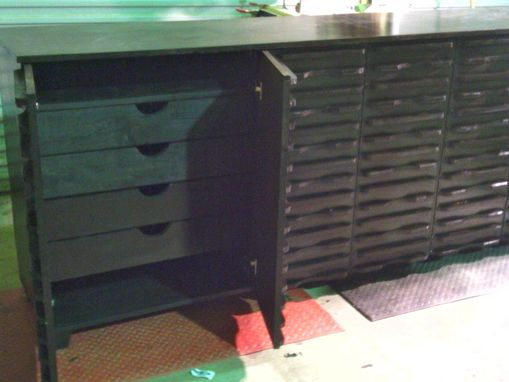 Custom Made Solid Wooden Buffet Table With Drawers