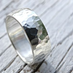 Bold Mens Ring Hammered Surface And Domed Shape Silver Wedding Band Engagement