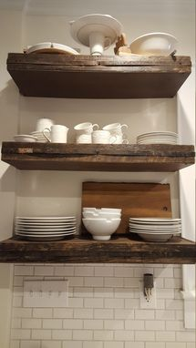 Custom Made Rustic Floating Shelves With Reclaimed Wood And Metal Strapping