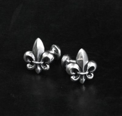 Custom Made Fleur De Lis Cufflinks In Sterling Silver