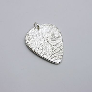 Custom Made Silver Fingerprint Guitar Pick Pendant