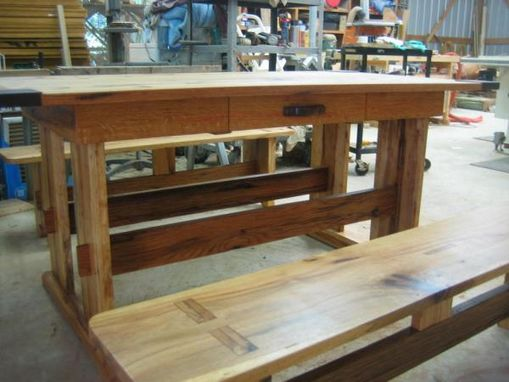 Custom Made Hickory And Oak Mission Style Dining Table