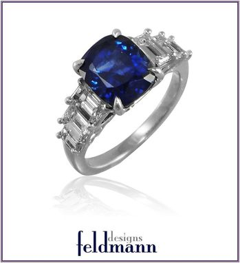 Custom Made Cushion Cut Ceylon Sapphire And Emerald Cut Diamond Ring