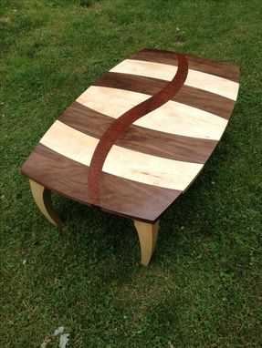 Custom Made Maple And Walnut Coffee Table With Curved Pomelle Sapele Inlay