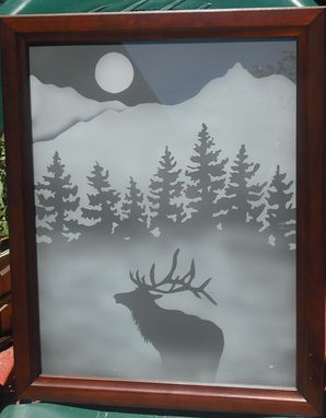 "Custom Made Framed Etched Glass For Walls Or Windows ""Misty Evening Elk"""