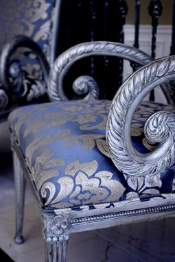 Custom Made Upholstered Chair Carved Wood Accent With Painted And Distressed Silver Finish
