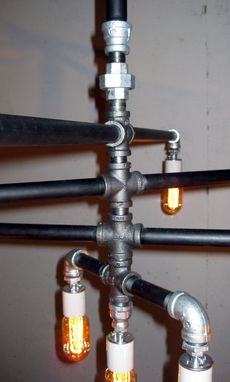 Custom Made Industrial - Iron Pipe 9-Bulb Chandelier