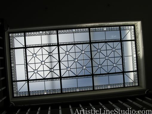 Custom Made Leaded Glass Flat Skylight With Large Jewels
