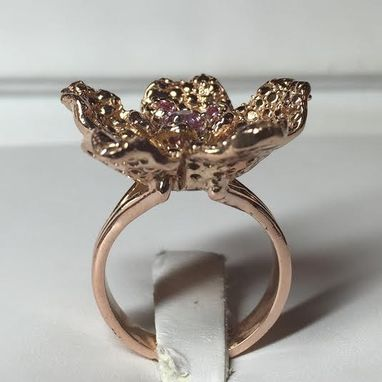 Custom Made 14kt. Rose Gold Hand Made Flower Ring With Genuine Pink Sapphires.