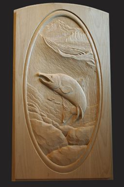 "Custom Made Door Carving "" Salmon """