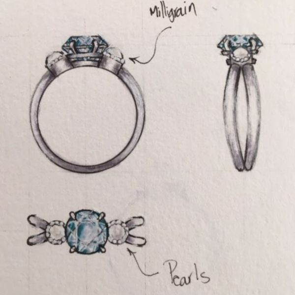 Sketches for an aquamarine and pearl ring, balancing a more modern butterfly shank design with touches of vintage milgrain for a perfectly balanced look.