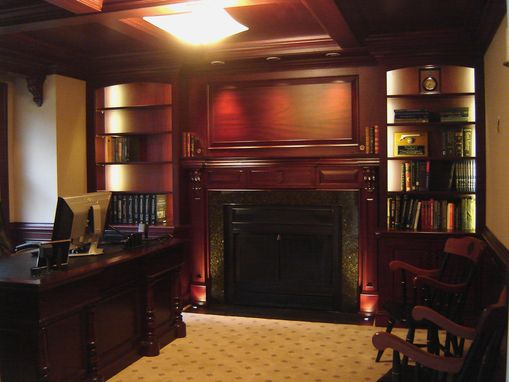 Custom Made Mahogany Home Office With Beam Ceiling