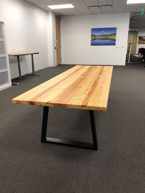 "Custom Made New Reclaimed Fir Conference Room Table With Steel Legs 115"" X 39"""