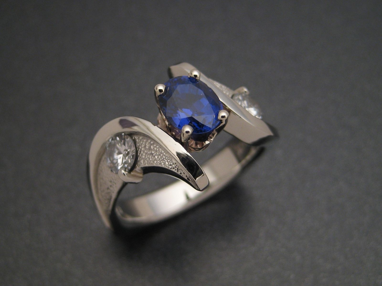 Hand Crafted Sapphire Wedding Ring by Sculpted Jewelry Designs