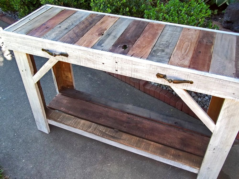Rustic Wooden Foyer Bench : Buy a handmade rustic reclaimed pallet entry table made