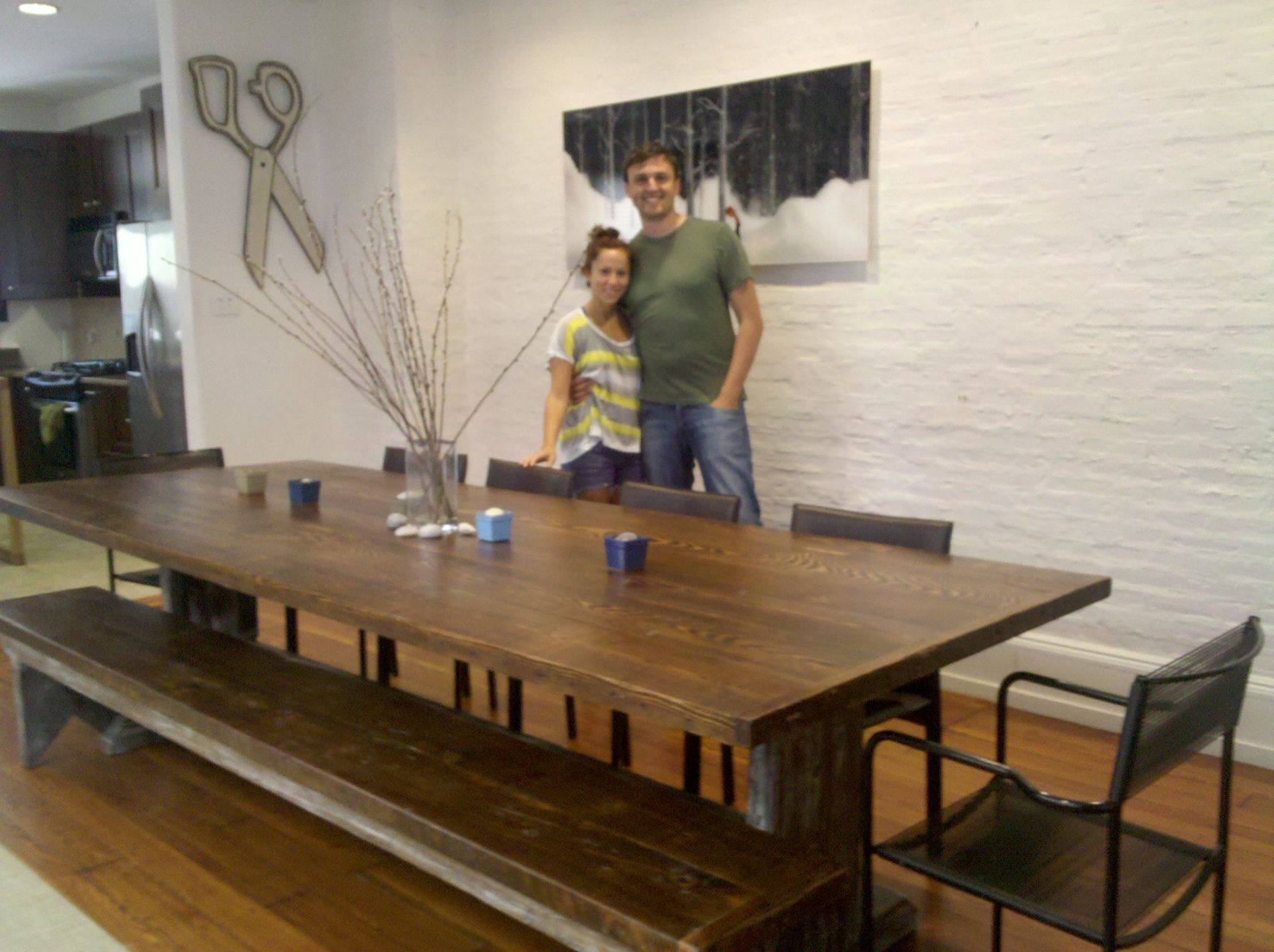 Custom Made Reclaimed Wood Table And Bench By Stable