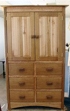 Custom Made White Oak Armoire