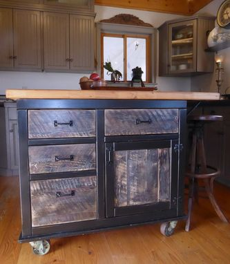 Custom Made Kitchen Island With Maple Butcher Block Top