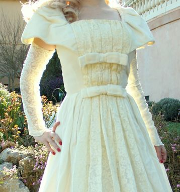 Custom Made Vintage 1940s Silk Velvet And French Lace Wedding Dress And Matching Arm Warmers