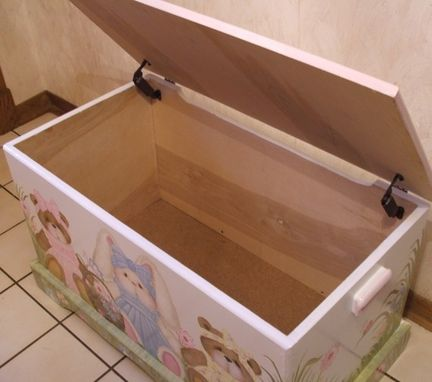 Custom Made Wooden Teddy Bear And Bunny Toy Chest