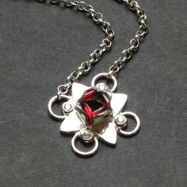 Custom Made Sterling And Cz Lotus Pendant With Garnet