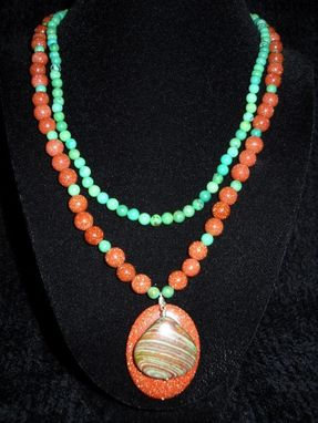 Custom Made Goldstone And Jade Necklace