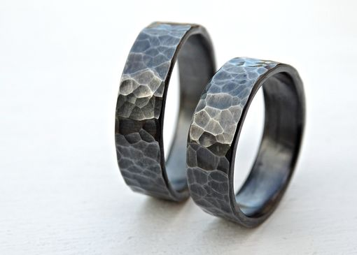 Custom Made Black Silver Wedding Band Set, Matching Rings For Him And Her, Promise Ring Set