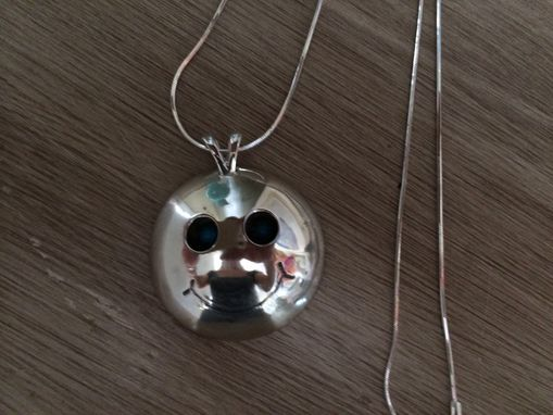 Custom Made Denise's Silver Smiley Face Pendant W/Shadowbox Eyes-Smile
