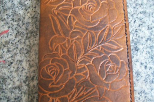 Custom Made Custom Leather Day Planner With 3 Rose Design