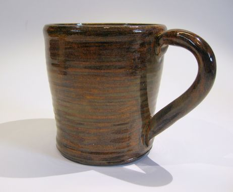 Custom Made Two Stoneware Mugs In Earthy Colors Of Chocolate & Vanilla For Your Morning Coffee Or Cocoa